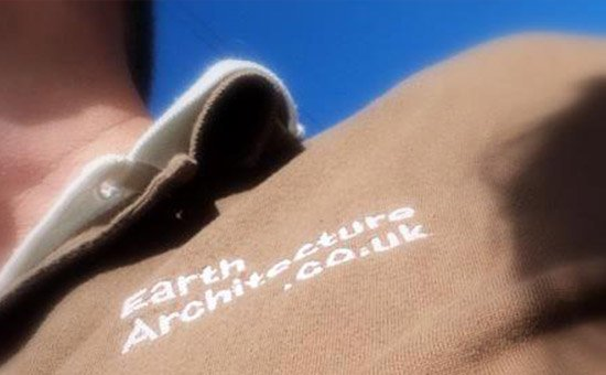 Logo on brown jumper
